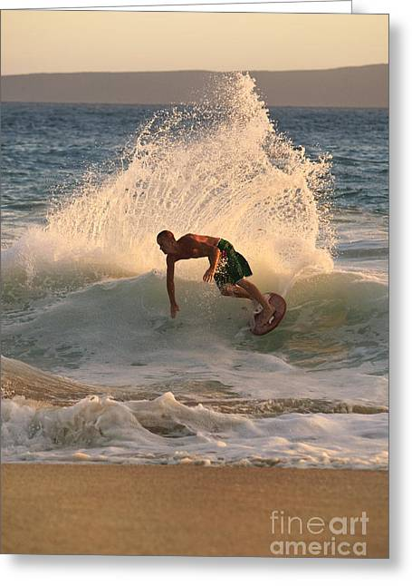 Swimboarder Carving Greeting Card