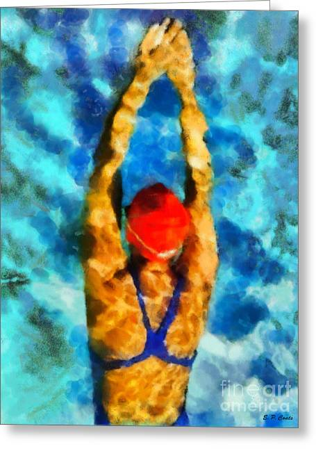 Swimmers Greeting Cards - Swimmer Greeting Card by Elizabeth Coats