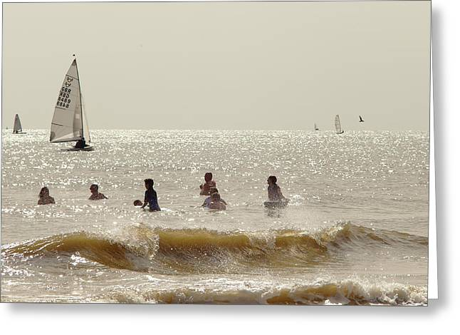 Swimmers And Yachts Greeting Card
