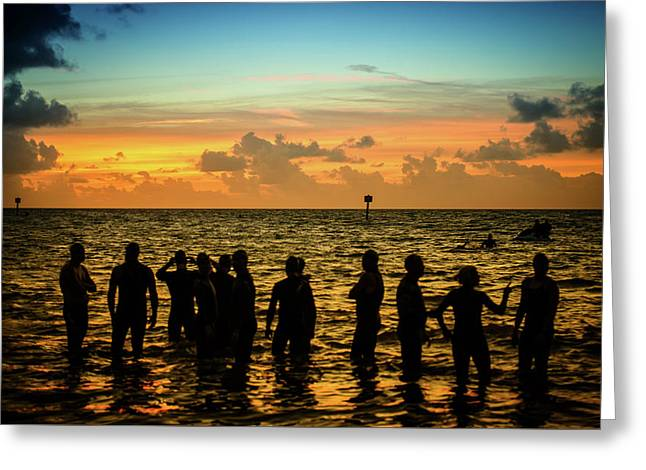 Swimmers Sunrise Greeting Card