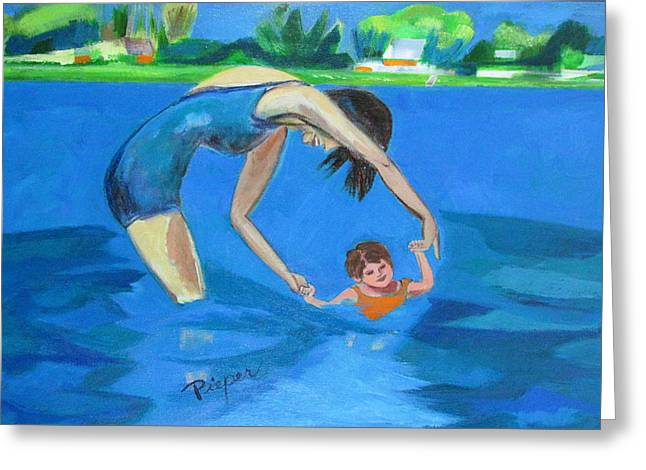 Greeting Card featuring the painting Swimmin' by Betty Pieper