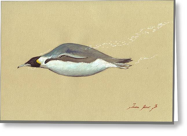 Swimming Penguin Painting Greeting Card by Juan  Bosco
