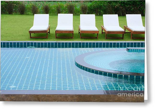 Refraction Greeting Cards - Swimming Pool And Chairs Greeting Card by Atiketta Sangasaeng