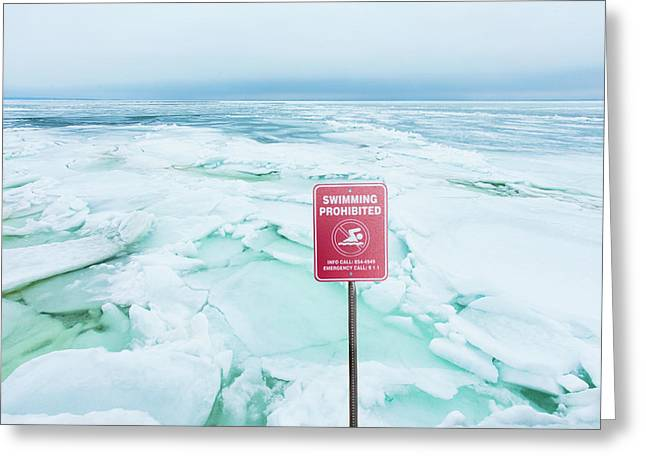 Swimming Prohibited, Peconic Bay Greeting Card by John Stuart