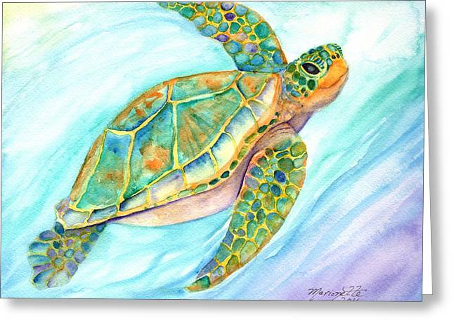Swimming, Smiling Sea Turtle Greeting Card