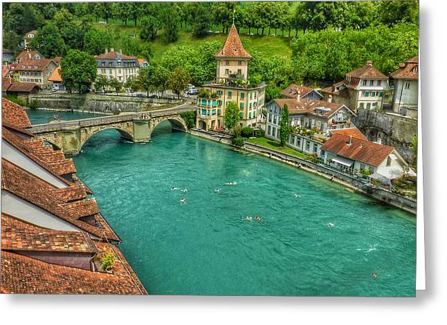Greeting Card featuring the photograph Swimming The River Aare , Bern  by Connie Handscomb