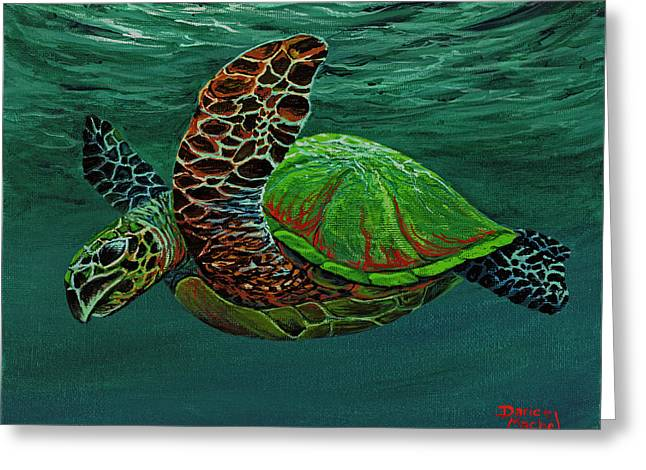Greeting Card featuring the painting Swimming With Aloha by Darice Machel McGuire