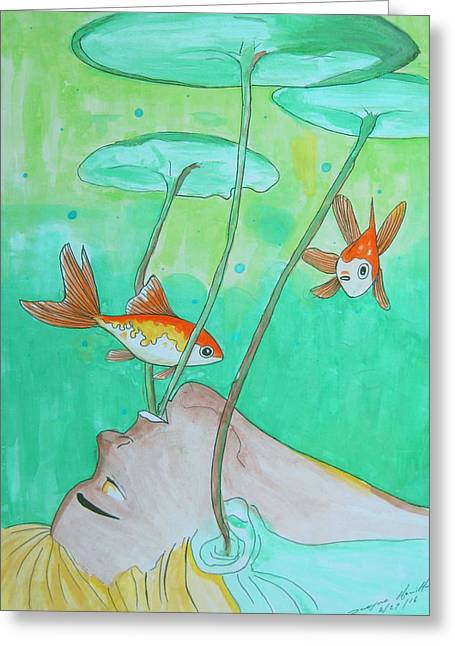 Swimming With Fishes Greeting Card