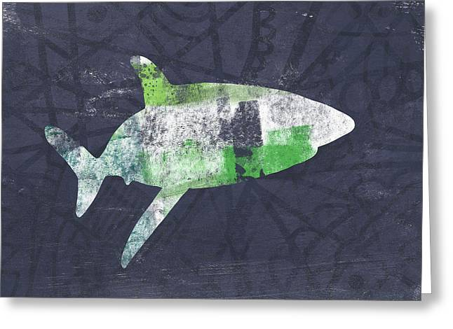 Swimming With Sharks 2- Art By Linda Woods Greeting Card