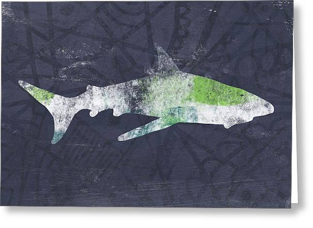 Swimming With Sharks 3- Art By Linda Woods Greeting Card