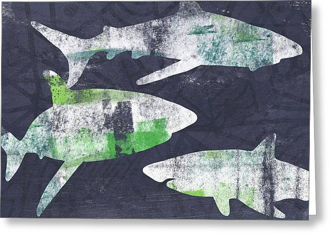 Swimming With Sharks- Art By Linda Woods Greeting Card