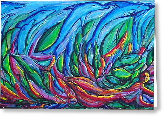 Ocean Mammals Greeting Cards - Swimming with the Dophins Greeting Card by William Fien