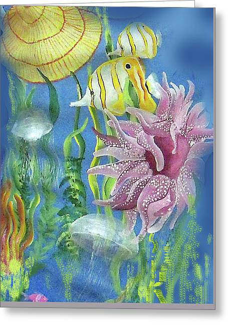 Swimming With The Jellies Greeting Card by Janis Grau
