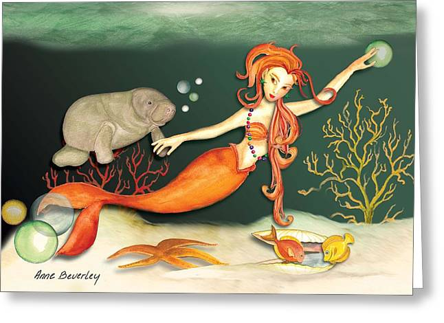 Greeting Card featuring the painting Swimming With The Manatees by Anne Beverley-Stamps