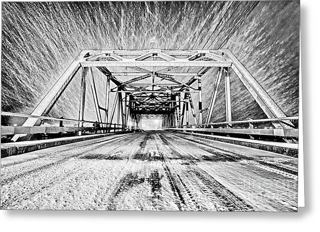 Greeting Card featuring the photograph Swing Bridge Blizzard by DJA Images