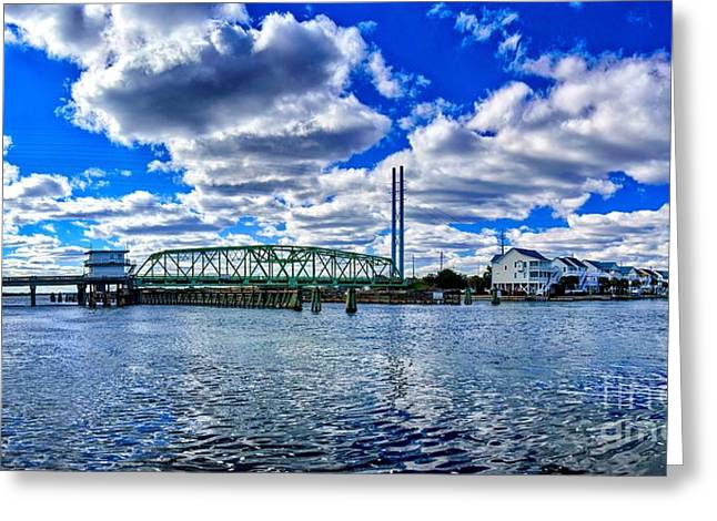 Greeting Card featuring the photograph Swing Bridge Heaven by DJA Images