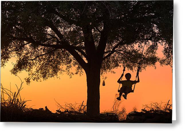 Swing Greeting Card by Marji Lang