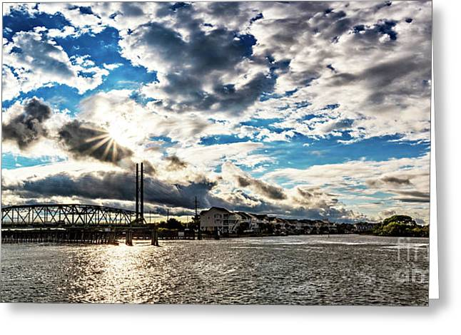 Greeting Card featuring the photograph Swing Bridge Drama by DJA Images