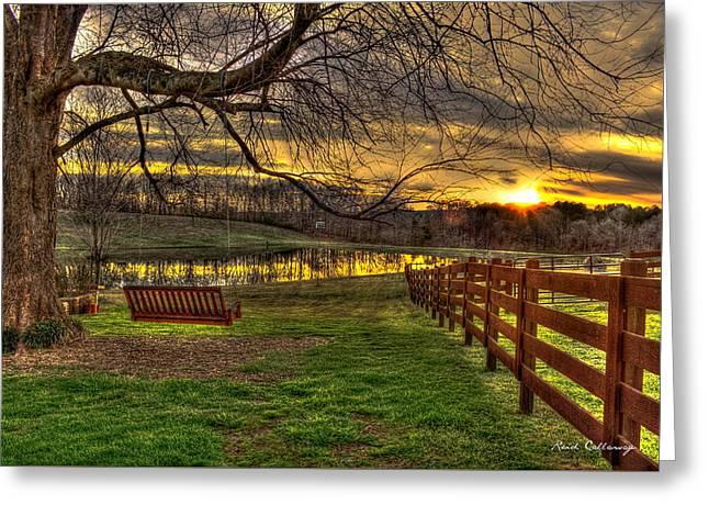 Swing Swang Swung Sunset Art Greeting Card