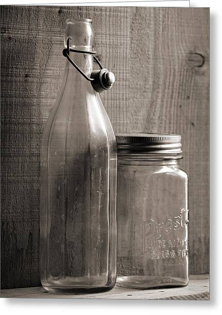 Jar And Bottle  Greeting Card by Sandra Church