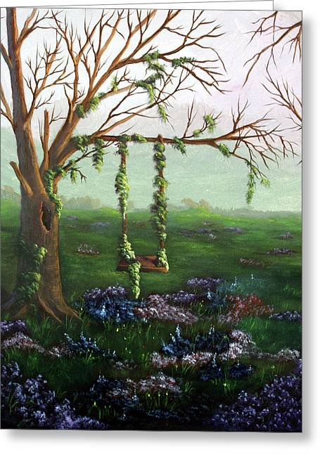 Swingin' With The Flowers Greeting Card