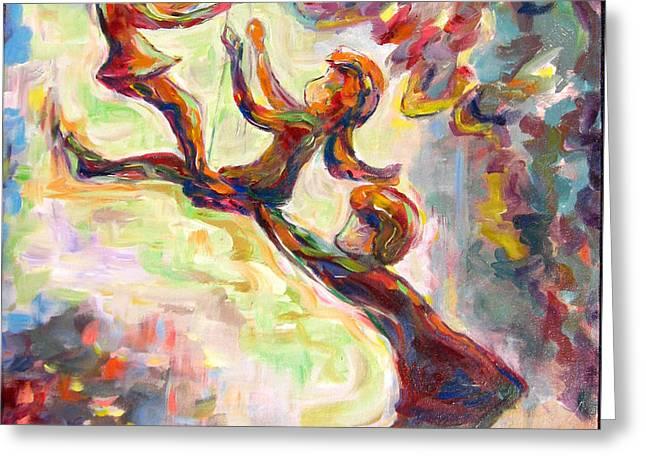 Swinging High Greeting Card by Naomi Gerrard
