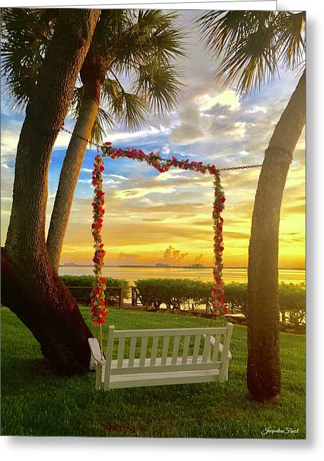 Swinging In Sunset Greeting Card