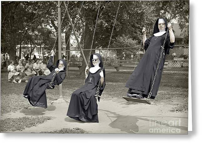 Swinging Nuns 1960 Greeting Card