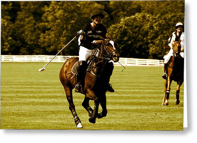 swinging Polo player Greeting Card