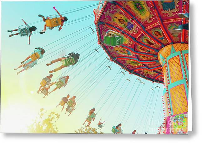 Greeting Card featuring the photograph Swings by Cindy Garber Iverson