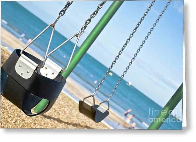 Greeting Card featuring the photograph Swings On The Ocean Beach by Yurix Sardinelly