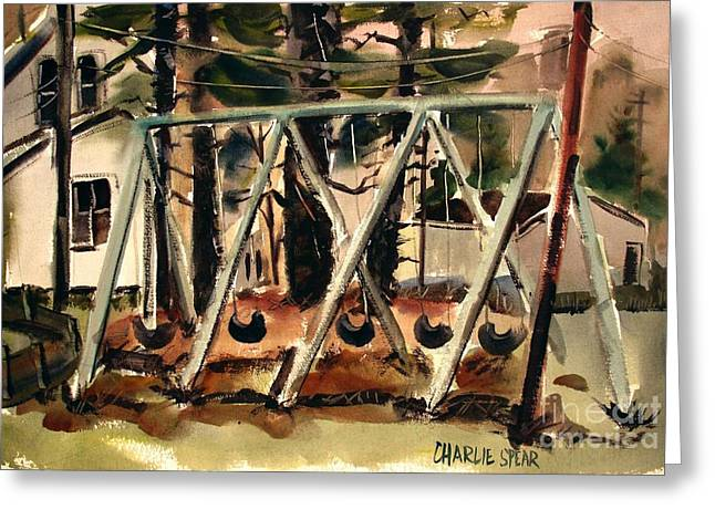 Greeting Card featuring the painting Swings Under The Pines Before The Storm Plein Air by Charlie Spear