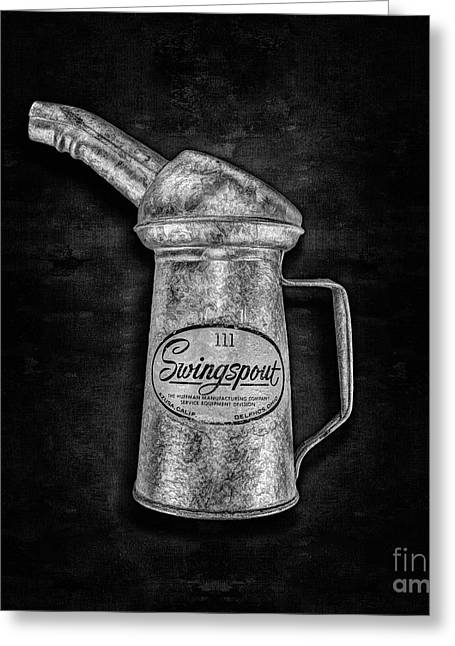 Swingspout Oil Can Bw Greeting Card by YoPedro