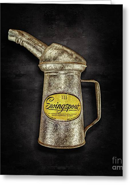 Swingspout Oil Can On Black Greeting Card