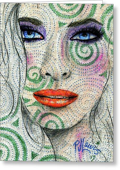 Swirl Girl Greeting Card by P J Lewis