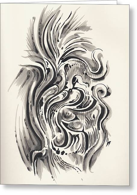 Greeting Card featuring the drawing Swirl by Keith A Link