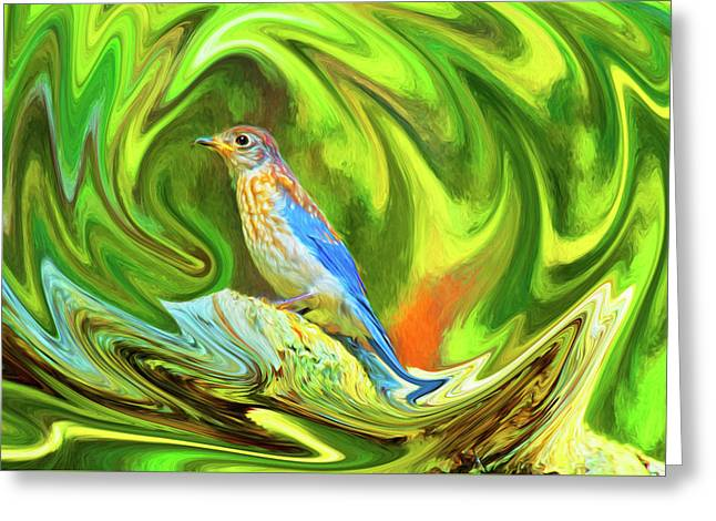 Swirling Bluebird  Greeting Card