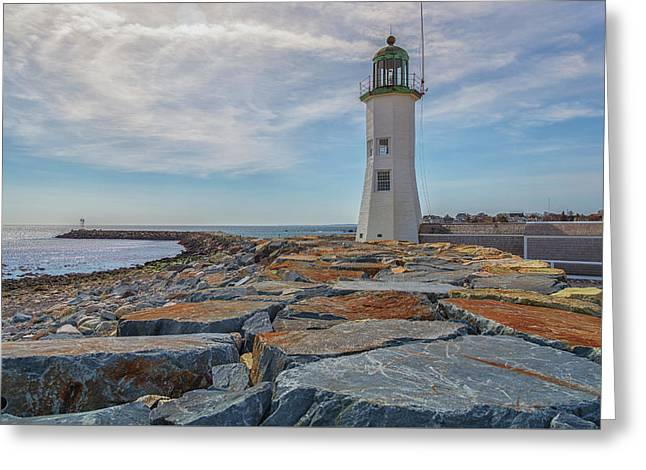 Swirling Clouds At Scituate Lighthouse Greeting Card