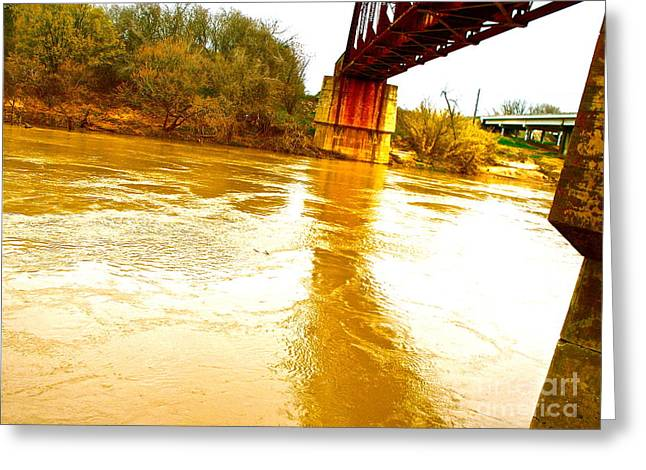 Swirling Good Water And Brazos Bridge Greeting Card by Chuck Taylor