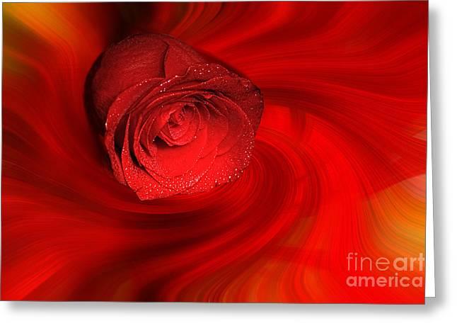 Swirling Rose Greeting Card by Geraldine DeBoer
