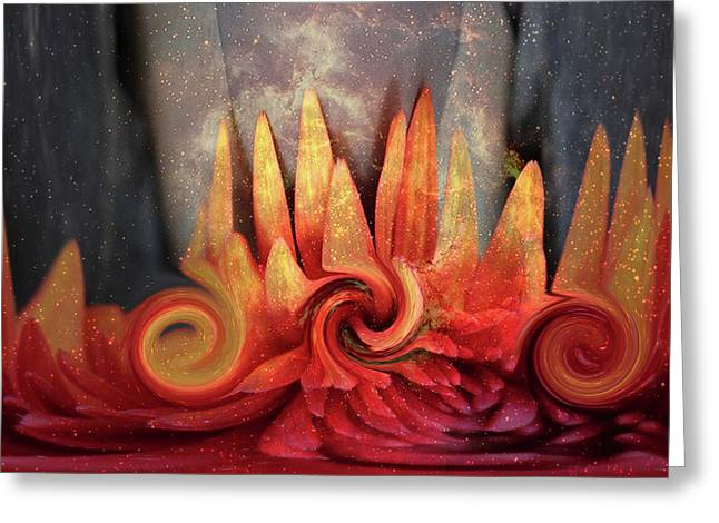 Greeting Card featuring the digital art Swirling World In Space by Linda Sannuti