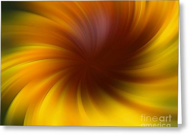 Swirling Yellow And Brown Greeting Card
