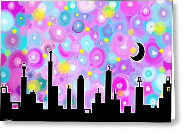 Greeting Card featuring the painting Swirly Metropolis by Shawna Rowe