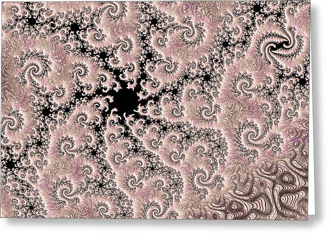 Swirly Pink Fractal 2 Greeting Card by Bonnie Bruno