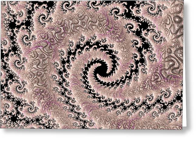 Swirly Pink Fractal Greeting Card by Bonnie Bruno