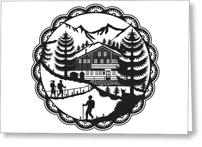 Swiss Chalet Alpine Hiker Decoupage Greeting Card
