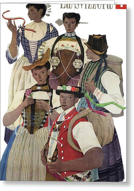 Swiss Culture Vintage Travel 1952 Greeting Card
