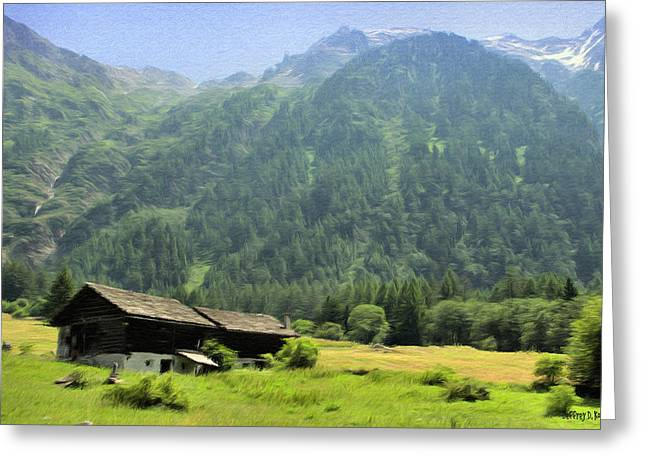 Cabin Greeting Cards - Swiss Mountain Home Greeting Card by Jeff Kolker
