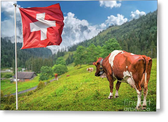 Swiss Mountain Scenery Greeting Card by JR Photography
