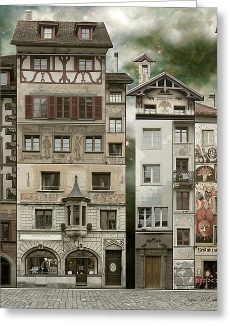 Swiss Reconstruction Greeting Card by Joan Ladendorf